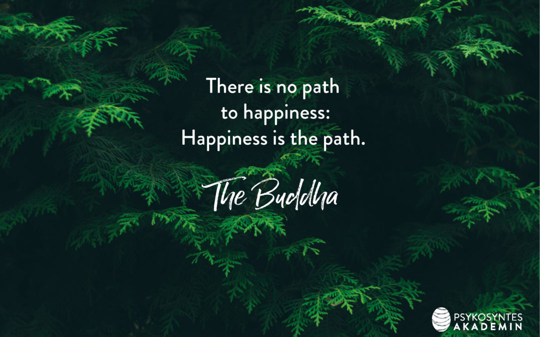 There is no path to happiness: Happiness is the path. The Buddha